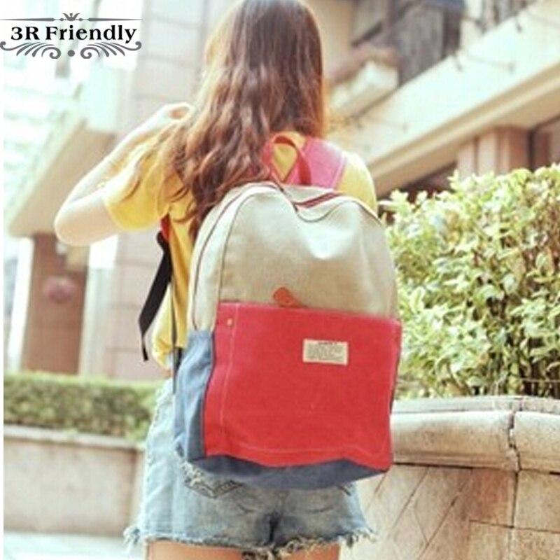 2013 womens  bag summer denim color block backpack canvas backpack unisex school bag<br><br>Aliexpress
