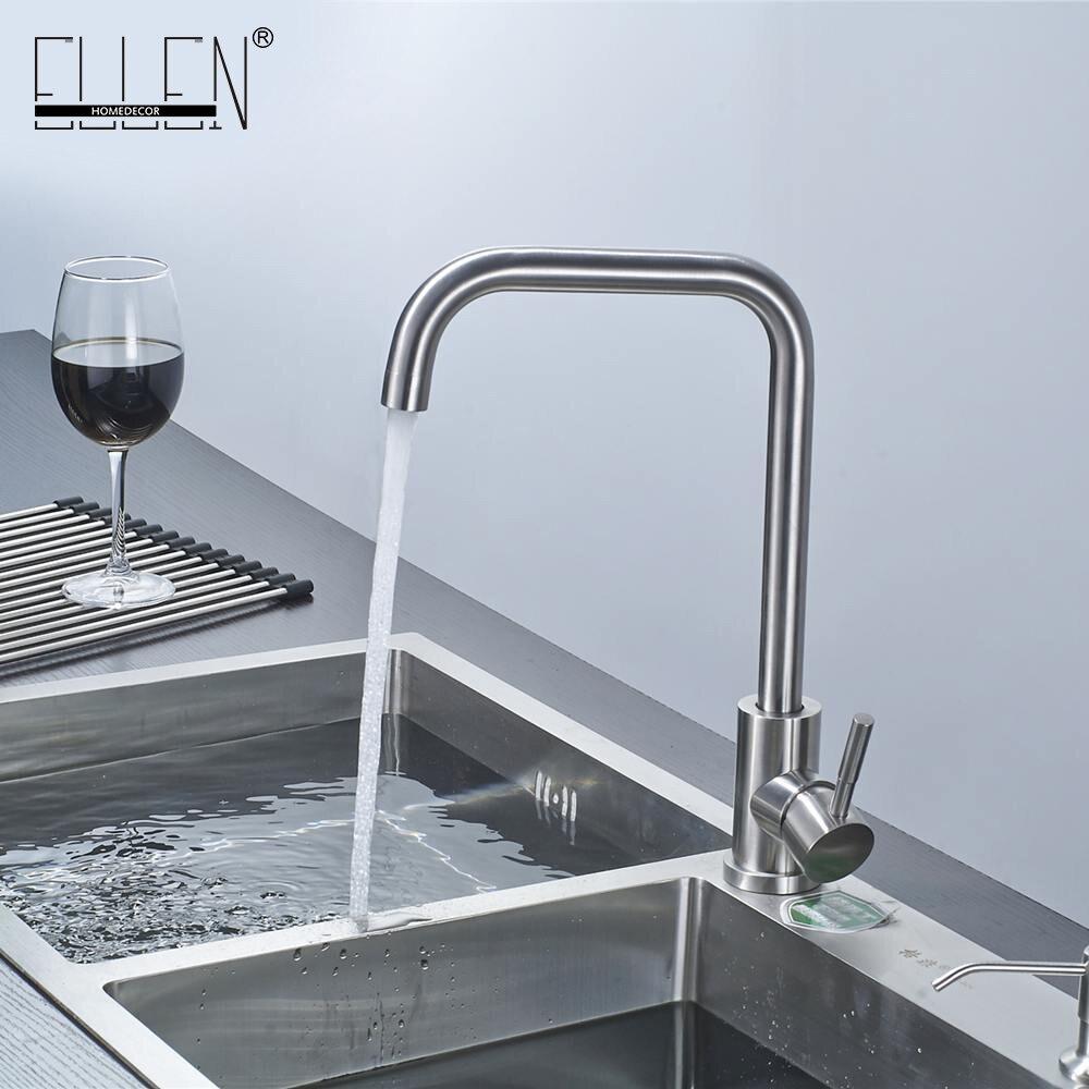 Kitchen Sink Faucet Stainless Steel 360 Degree Turn Spray Brush ...