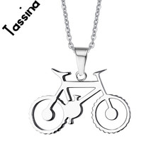 Tassina Stainless Steel Rider Bicycle Pendant Necklace Charm Jewelry Outdoor Riding Friend Commemorate For Men Gift TNPPN691