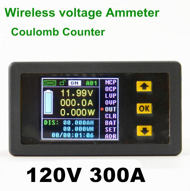 VAC1300A 120V 300A new wireless bi-directional Color LCD ammeter voltage meter current power capacity  coulomb counter<br><br>Aliexpress
