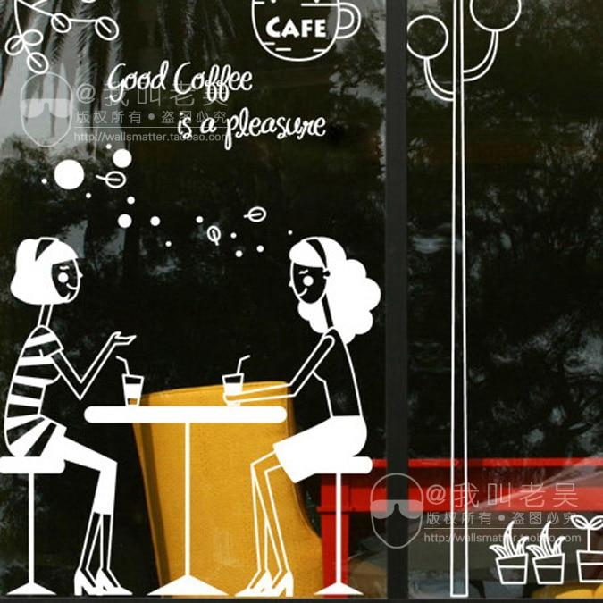 Hot Sale Coffee shop sticker window decoration Good Coffee Two girl having coffee wall sticker Art decal