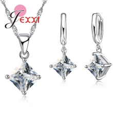 JEXXI 2017 New Arrival Women Accessories Pendant Necklace Earrings Jewelry Set Gril Square Shinny CZ Pendant 925 Sterling Silver(China)