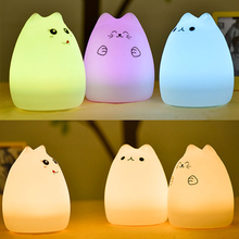 Colorful Cat Silicone LED Night Light Rechargeable Touch Sensor light Children Cute Night Lamp Bedroom Light P37