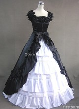 Custom Halloween Cheap Black and White Gothic Victorian Dress Prom Gown Lolita Costume Free Shipping