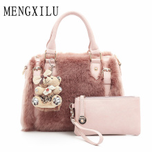 Fashion Fur Luxury Handbags Women Bags Designer Women's Handbags Shoulder Bag Ladies Hand Bags 2017 New Boston Casual Tote Sac