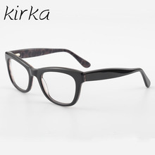 Kirka Fashion Women Acetate Glasses Frames Female Brand Acetate Eyeglasses Black Frame With Glasses