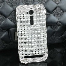 Bling Pearls Case for Asus Zenfone ZB500KL Shinny Diamond White Bow-knot Cellphone Funda Shell Cover Case for Asus ZB500KL Coque