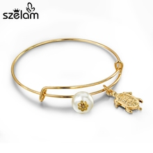 Szelam 2017 Newest Turtle Charm Bangles For Women Simulated Pearl Bracelets & Bangles Expandable Luxury Gold Jewellery SBR150221