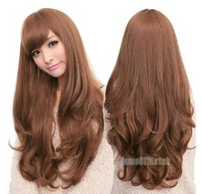 Sexy Fashion Light Brown Long Wave Lady's Synthetic Hair Wig Cosplay Wig Free Gift Wig Cup for Free Shipping(NWG0LO61068-MA2)