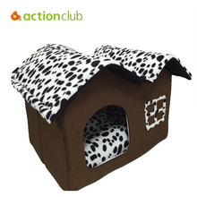 Actionclub Dog House New 2016 PP Cotton Folding Dog Bed For Large Dog House With Mat Pets Product Cats House 2016 New Style(China)