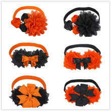 Black and Orange Shabby Chiffon Flower Hairbands Halloween Headbands Satin Rose Hair Band Children Sequin Bows Accessories