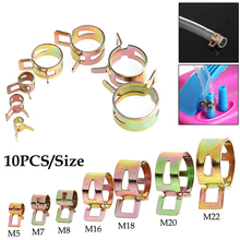 Drop Shipping 10Pcs 5-22mm Spring Clip Fuel Line Hose Water Pipe Air Tube Clamps Fastener New 2017
