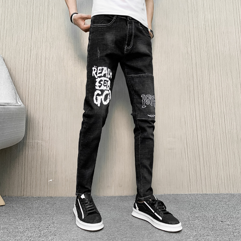 Brand New Jeans Men Spring All Match Black Mens Slim Fit Jeans Streetwear Casual Denim Pants Men Clothes 2019 Trousers Men