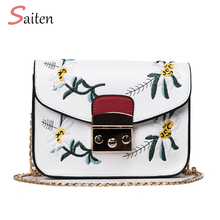 Bolsa Feminina Preta Fashion PU Leather Women Bag Designer Messenger Bags High Quality 2017 Embroidery Bags Famous Crossbody Bag