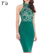 T'O Lady Sexy Lace Halter Off Shoulder Patchwork Solid Color Gold Purple Rose Night Club Party Bodycon Sheath Pencil Dress 483(China)