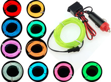 10 color Flexible 5M EL Wire Rope Tube Neon Light + 12V car inverter Red Yellow Green Blue Pink White Purple Fluorescent green
