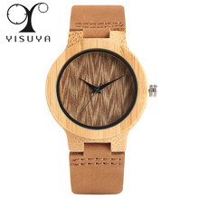 Buy YISUYA Bamboo Wood Ladies Watches Analog Genuine Leather Band Creative Nature Wooden Watch Women Sport Wristwatch Gift Women for $11.52 in AliExpress store