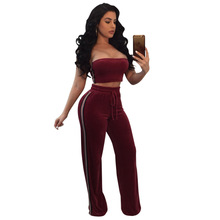 Womens Two Piece Sets 2018 winter red Party Back Bra and Flare Pants Set sexy club Two Piece Set Top and Pants JIN YING HUO(China)