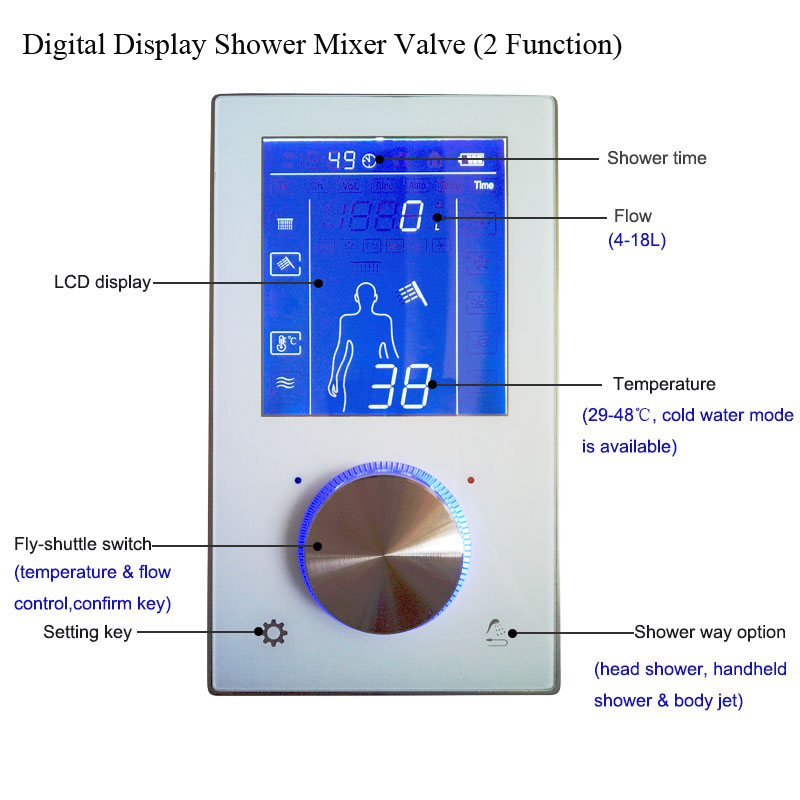 JMKWS Concealed Wall TouchScreen Shower Mixer Glass Shower Panel Smart Bath ShowerHead Faucet Digital Display Thermostatic Valve 8