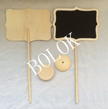 50pcslot llarge size wholesale 16x12cm wooden framed chalkboard on stick stand place holder for wedding party decoration