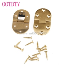 2Pcs Solid Brass Butler Tray Hinge Round Folding Edge xFlaps With 12 Screws #S018Y# High Quality