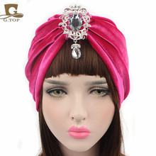 New velvet Turban detachable diamante pendant brooch head wrap christmas party glitter hat wedding bride hair extensions