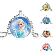 NingXiang 12pcs/lot Glass Cabochon Princess Elsa Anna White Pendant Necklace Jewelry For Girls Statement Maxi Necklace 2 Chains
