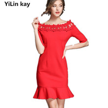 YiLin kay 2017autumn, the new arrival  women has high quality Slim one-word red bag and hip women dress