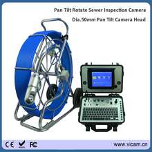 360 Degree rotate CCTV inspect Robot camera for sewer tube pipe inspection with 80m 9mm fiberglass cable reel