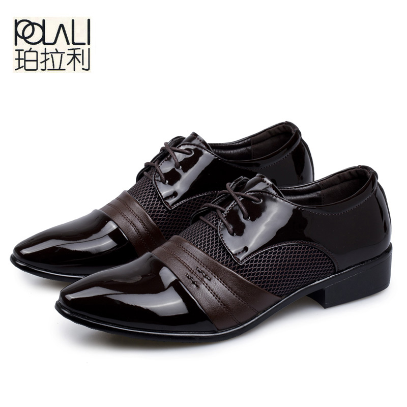 Sensible Brand Patent Leather Business Mens Dress Shoes Pointed Toe Oxford Shoes For Men Breathable Mesh Formal Office Flats Eu 38-48 Men's Shoes