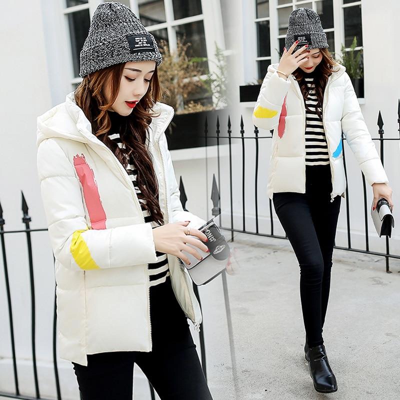 2017 Autumn Winter New 4 Color Fashion Women Short Hooded Zipper Parkas Female Slim Cotton-padded Graffiti Coats LA1013B#16602Îäåæäà è àêñåññóàðû<br><br>