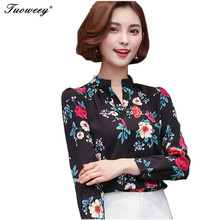 2018 spring floral nice Women Striped Chiffon loose blusas long sleeve V-neck Shirts Casual Style women's Clothing Blouses Tops(China)