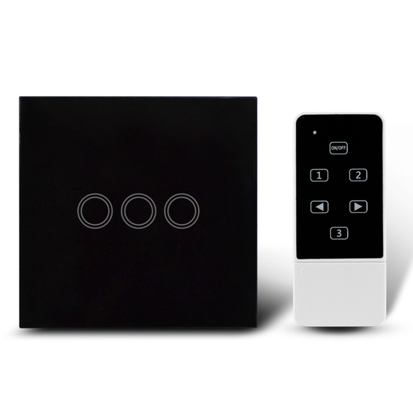 Wireless Remote Control 3 Gangs Wall Light Touch Switch For UK Black Crystal Glass Panel+LED Backlight, RF 433Mhz<br>