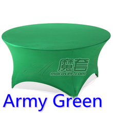 Army green colour wedding table cloth lycra table cover spandex table linen hotel banquet party round tables decoration on sale(China)