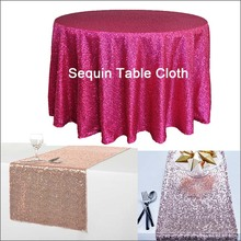 1PC New Fashionable Bling Embroidered Sequin Tablecloth Decor Wedding Party Catering Hotel Polyester Glitzy Table Cloth Overlay