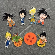 50pcs Cartoon Japanese Anime Dragon Ball Metal Charm Key chain necklace Pendants DIY Jewelry Making Mobile Phone Accessories