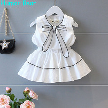 Humor Bear Girl Clothing Set Bowknot Top + Dress For Baby Girl Summer Wear Children Clothing 2 Pcs Baby Clothes