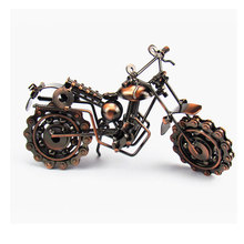 Hand Made Wrought Iron Craft  Motocycle Unique Gift Rotatable Wheel Home Office  Desk Decor 2colurs