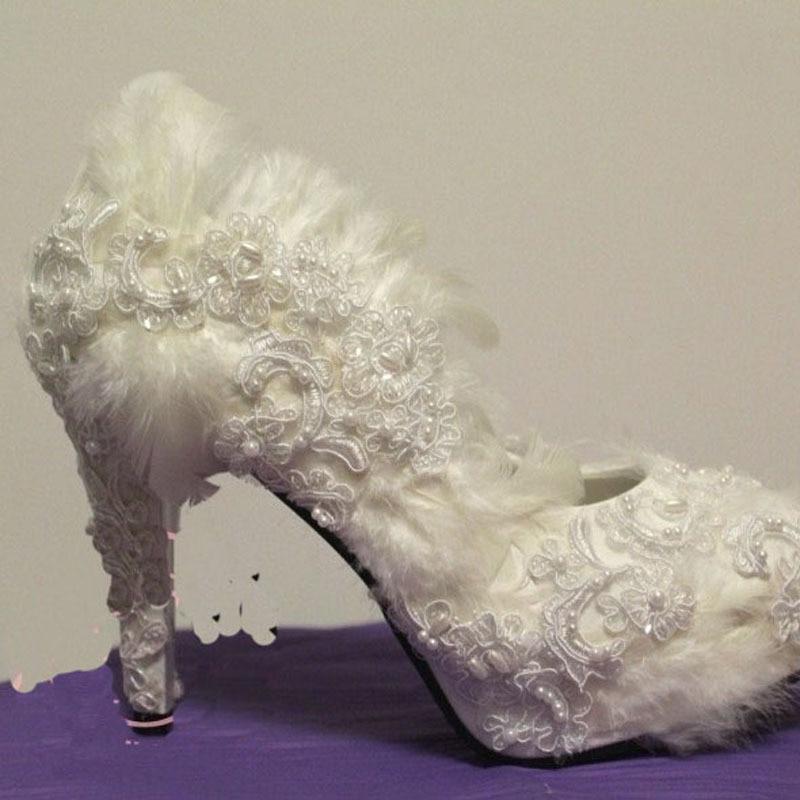 Cheap Comfortable Woman Dress Shoes Pumps Lace flower feather high-heeled shoes woman bride shoe Woman wedding shoes<br><br>Aliexpress