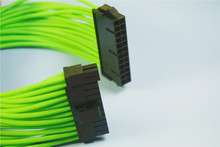 Green Single sleeved 24 Pin ATX PSU Power Extension Cable Female to Male 30 cm Length PET braided Sleeve(China)