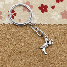 Fashion Diameter 30mm Metal Key Ring Key Chain Jewelry Antique Silver Plated bird eat fish 23*18mm Pendant