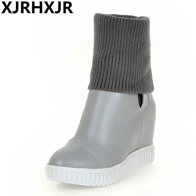 XJRHXJR Autumn Winter Women Sweater Boots 2018 Woman Platform Pump Short Boots Shoe Height Increase Ladies High Heels Shoes34-43<br>