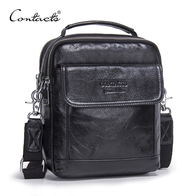 CONTACTS Genuine Cow Leather Messenger Bags Flap Casual Men Solid Handbags Famous Brand Small Male Shoulder Crossbody Bags <br>