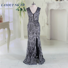 Bling Fashion Sequined 2017 Evening Dresses V Neck Split Prom Dresses Gown Custom Made Robe De Soiree Formal Vestido Formal Dres