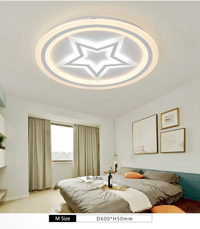 Modern Acrylic LED Ceiling Lights For Living Room Bedroom 50cm 60cm 80cm Simple Star Design Ceiling Lamp With Remote Control 220V (4)
