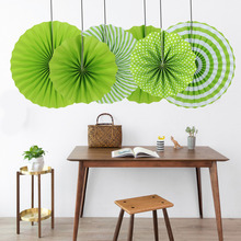 2017 New! Grass Green Pleated Paper Fans Set Polka Dots Waves Pinweels for Birthday Baby Shower Festival Wedding Hanging Decor
