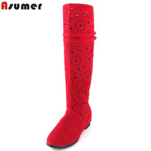 Asumer new cut outs knee high boots high heels shoes summer boots for women sexy fashion hollow motorcycle boots women sandals