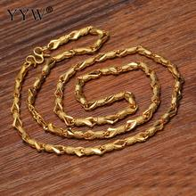 Big 24k Gold-Color Necklace Chain For Women Snake Chain Gold Filled Chain Necklace Jewelry Party Daily Wear Jewelry Gift(China)