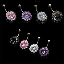 Bluelans Cubic Zirconia Flower Crystal Rhinestone Navel Barbell Belly Ring Body Piercing