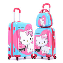 13'' 20'' 24'' Hello Kitty Rolling Luggage+Makeup Case/Cute Large Capacity Hardside Trolley Bags/Brand ABS Spinner Suitcase